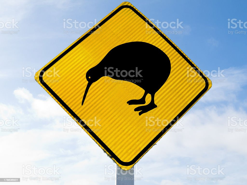 Attention Kiwi Crossing Road Sign royalty-free stock photo
