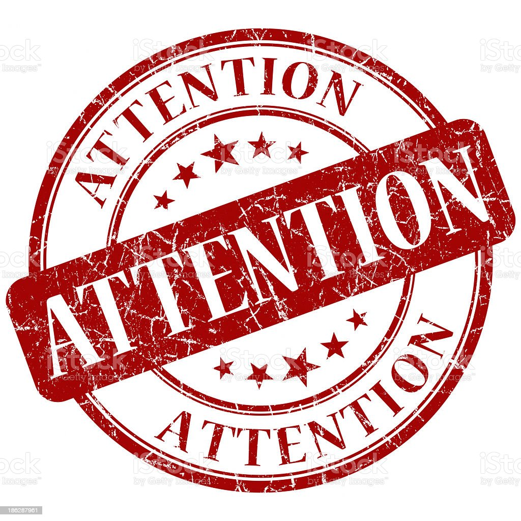 attention red round stamp stock photo
