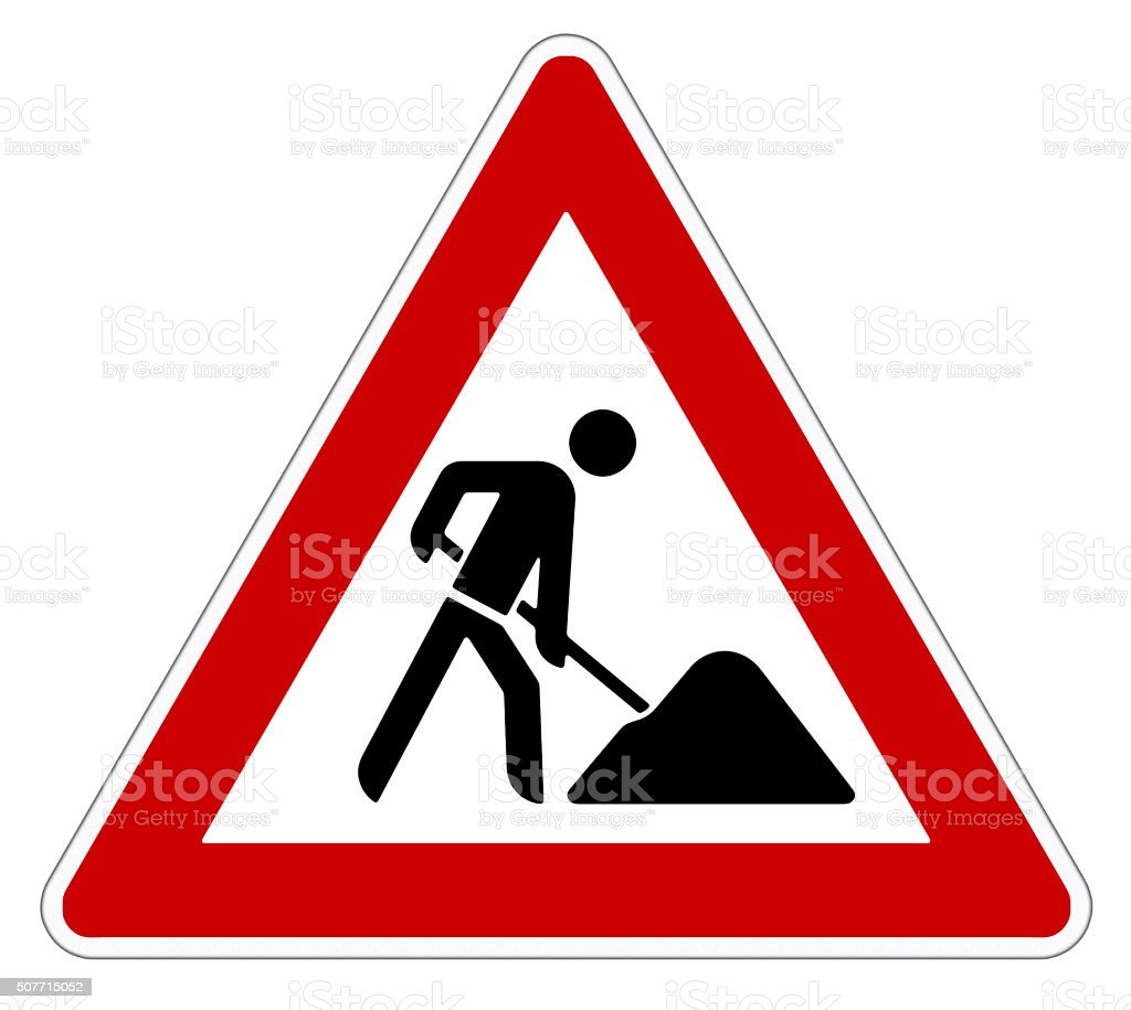 attention roadworks sign stock photo