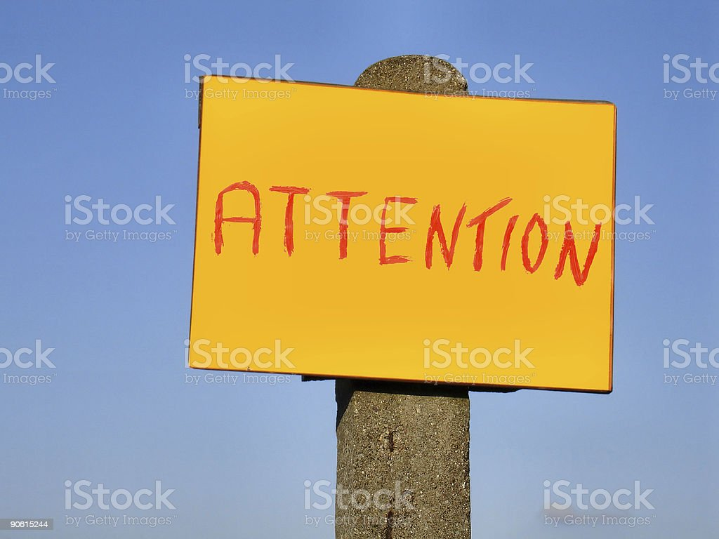 attention sign post royalty-free stock photo