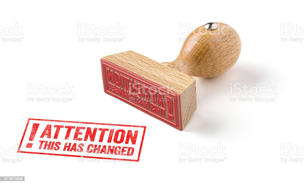 Attention this has change stock photo