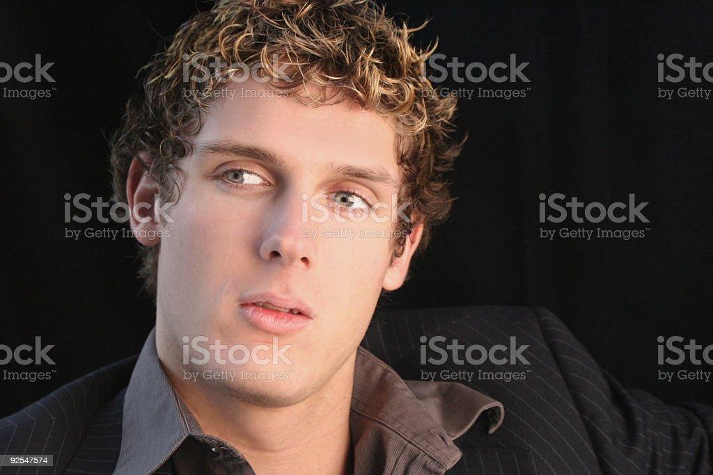 attentive man stock photo