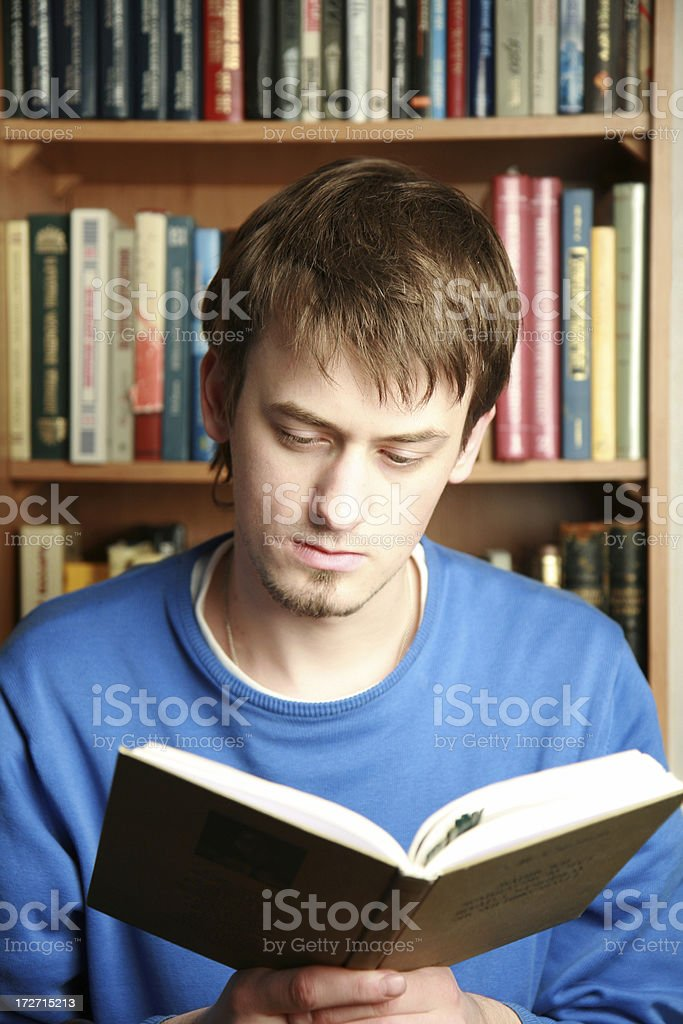 attentive reading royalty-free stock photo