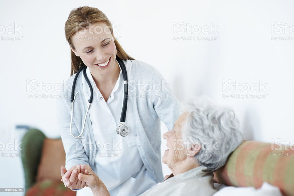Attentive senior care royalty-free stock photo