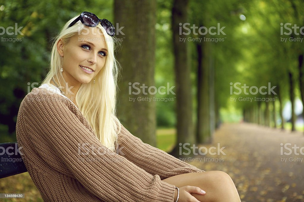 Attentive Sexy Young Blonde Lady stock photo