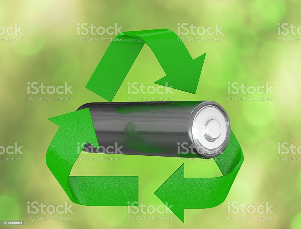 Вattery in a recycle logo. 3D render stock photo