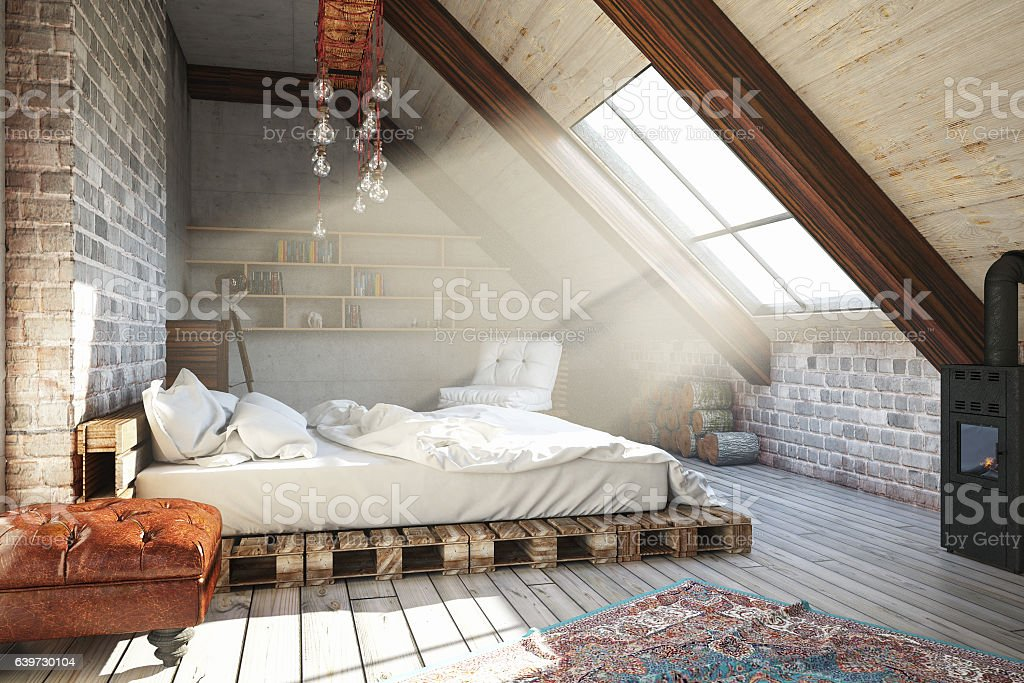 Attic Bedroom stock photo