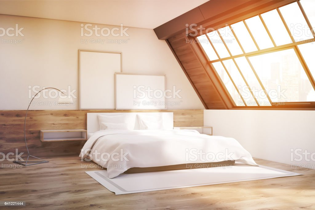 Attic bedroom with carpet and posters, toned stock photo