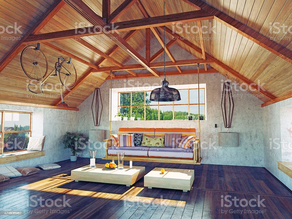 attic interior stock photo