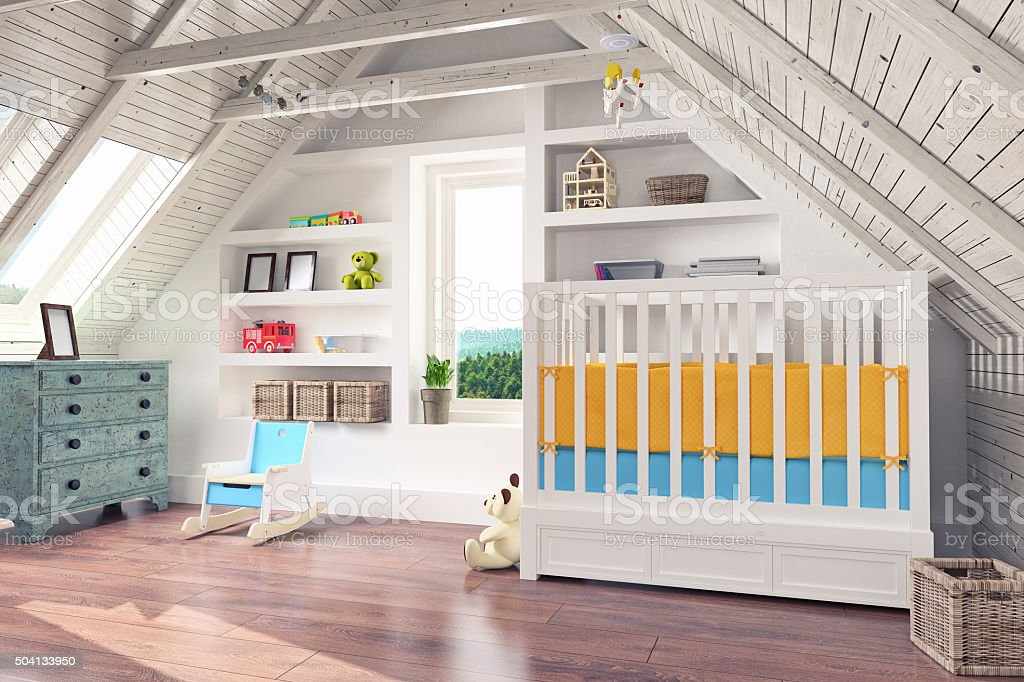 Attic Nursery Interior stock photo