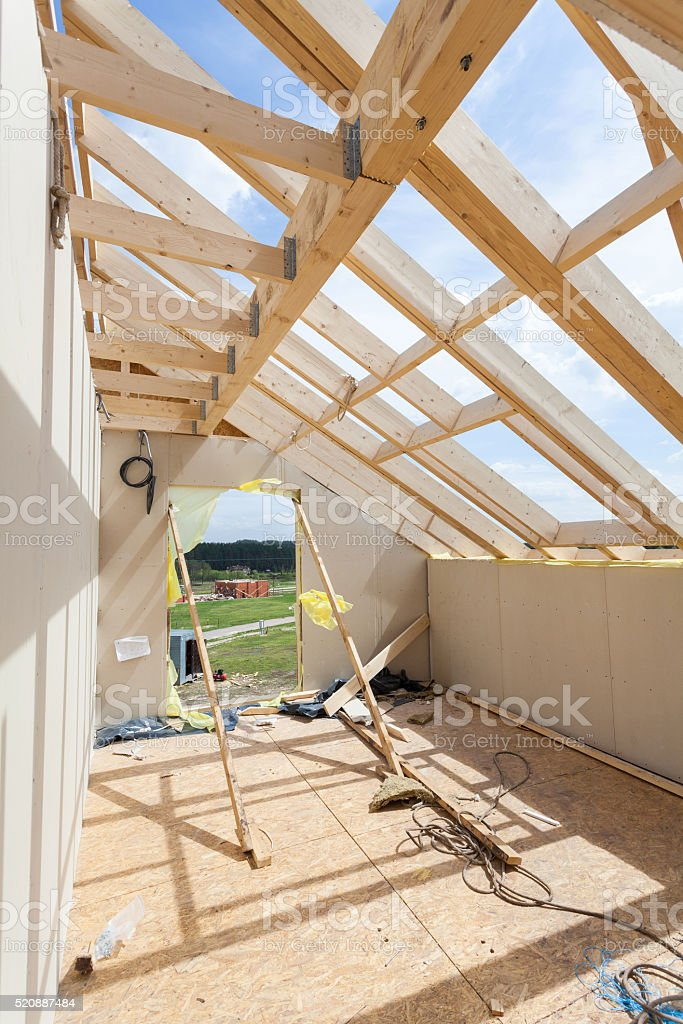 Attic room under construction with gypsum plaster boards. stock photo
