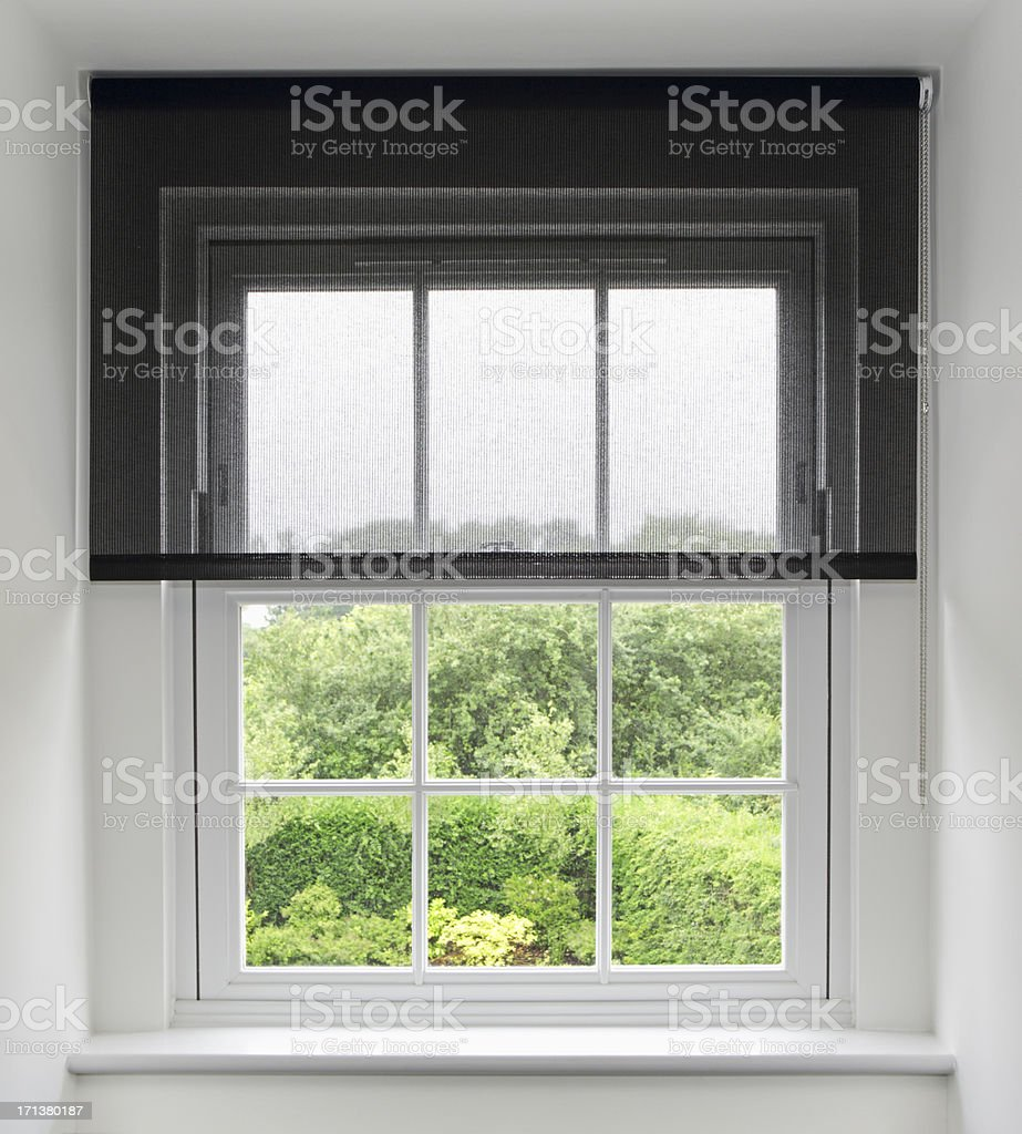 attic window and blinds stock photo