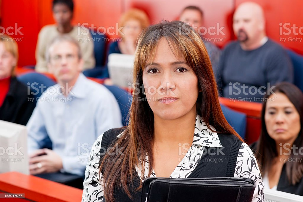 Attorney in front  of diverse jury stock photo