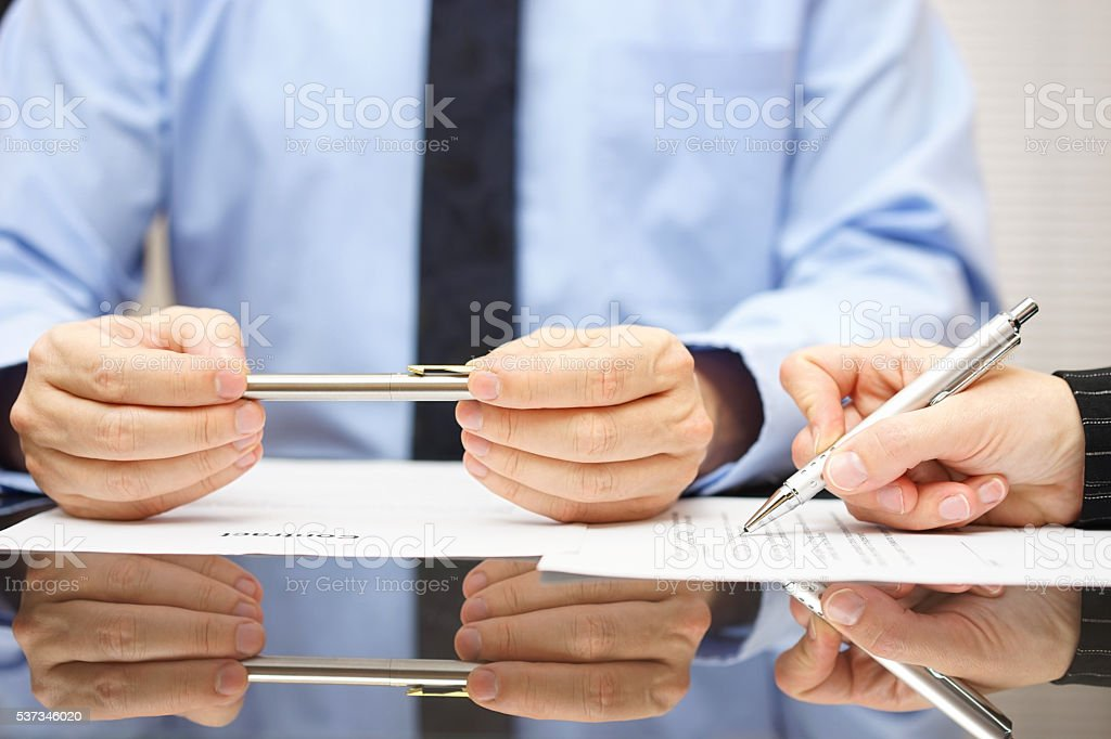 attorney is commenting contract so client can understand consequences stock photo