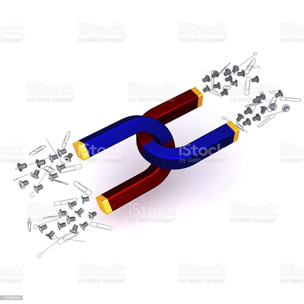 Attraction Double Magnets with screws paper-clips and paper-pins royalty-free stock photo