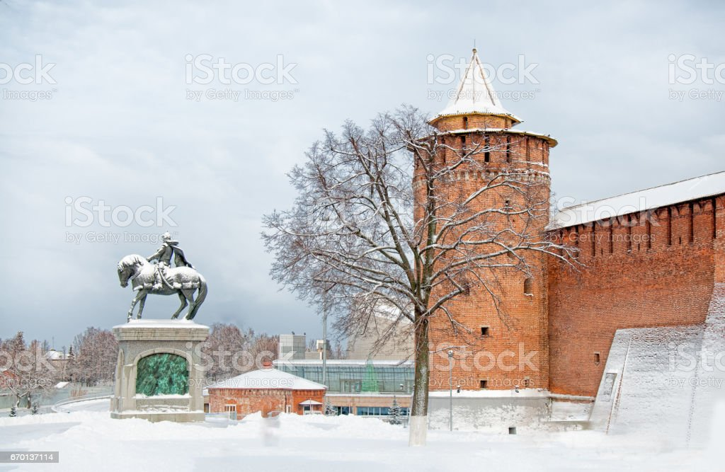 attraction in city Kolomna Kremlin with Marinkina tower and the monument to Dmitry Donskoy the historical centre of the old town in winter stock photo