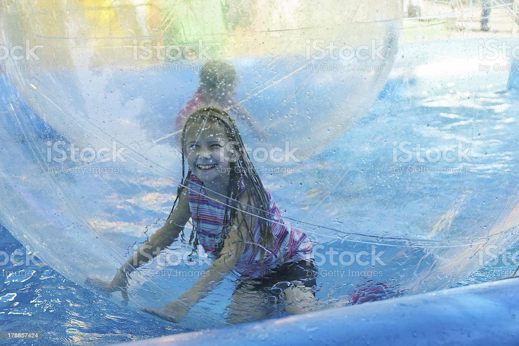 Attraction on the water - zorbing royalty-free stock photo