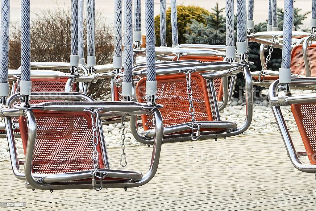 attraction swing and roundabouts stock photo