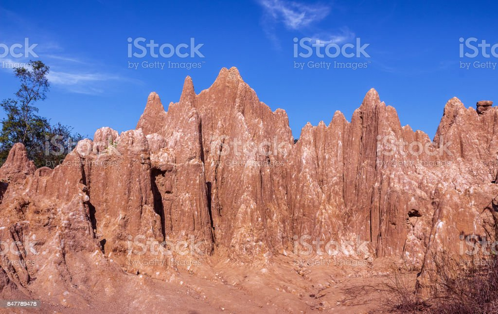 Attractions eroded sandstone pillars or columns and cliffs at Sao Din Na Noi, sri nan national park, Nan province, Unseen Thailand. stock photo