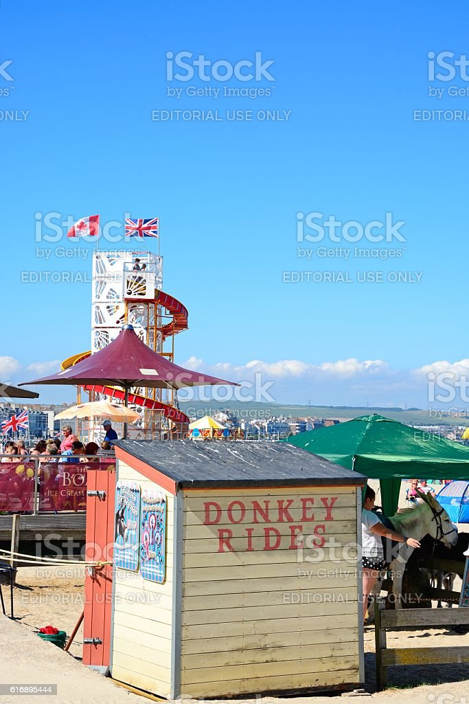 Attractions on Weymouth beach. stock photo