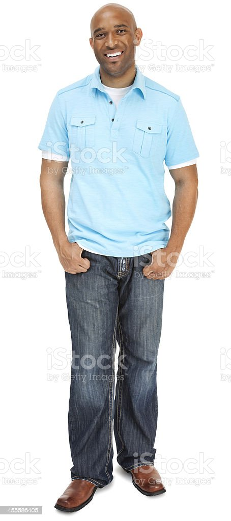 Attractive adult male standing confident full length stock photo
