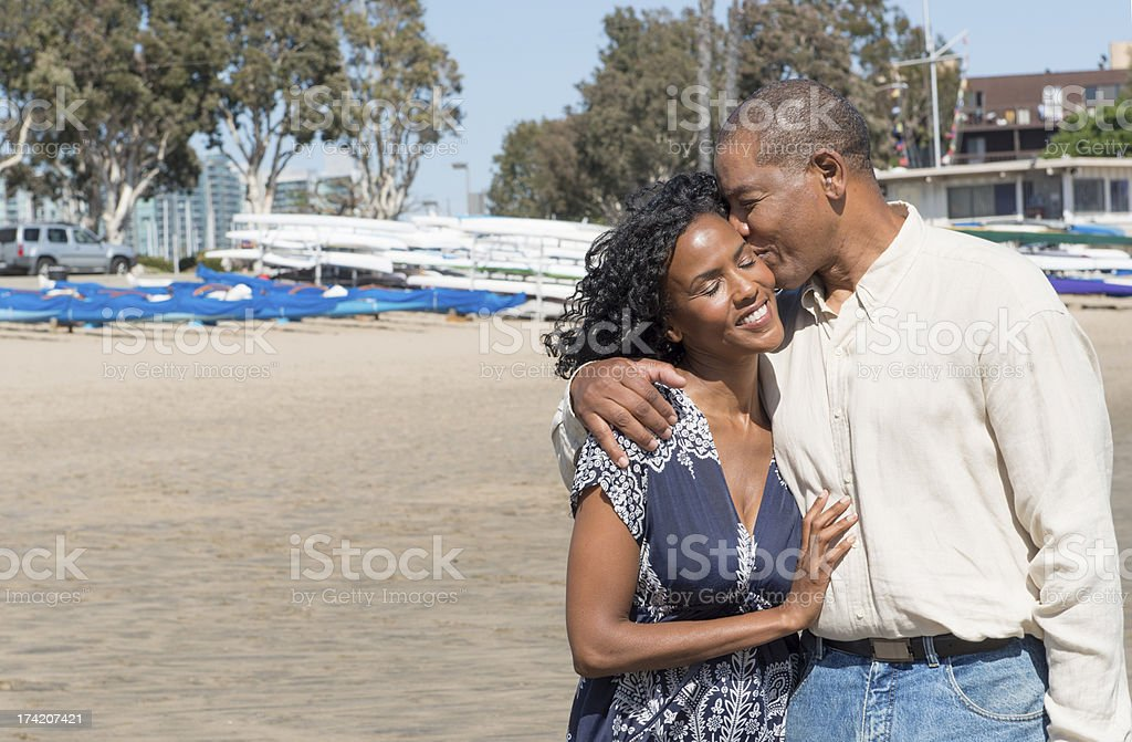 Attractive African American at Marina stock photo