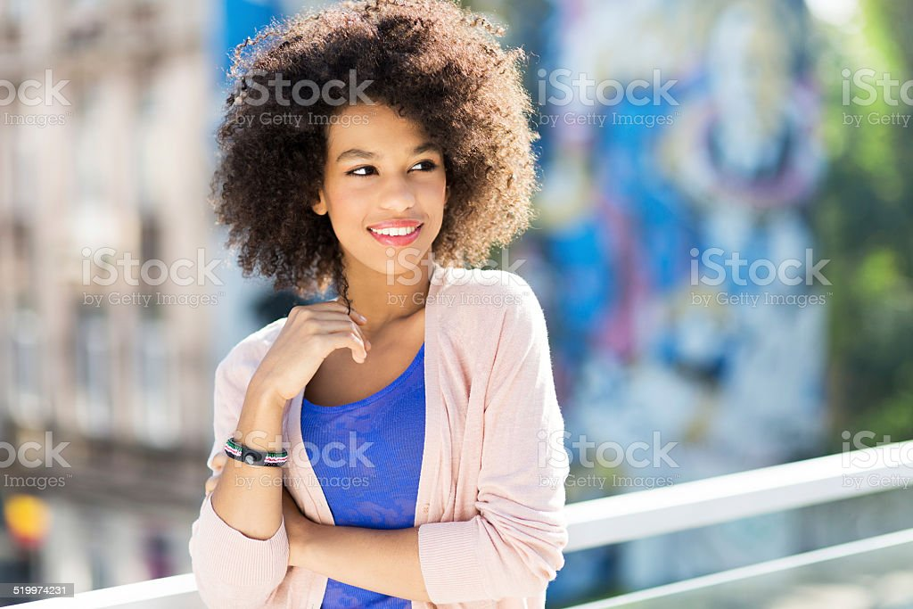 Attractive African American woman stock photo