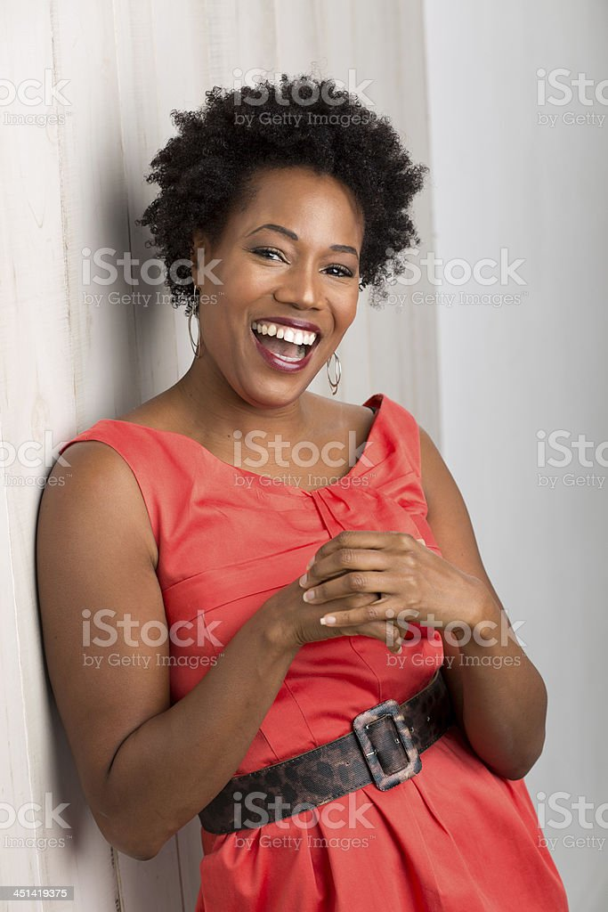 attractive african american woman wearing glasses stock photo