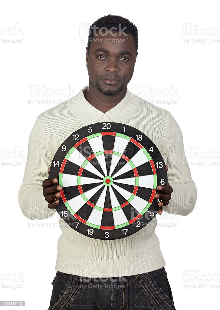 Attractive african man with target royalty-free stock photo