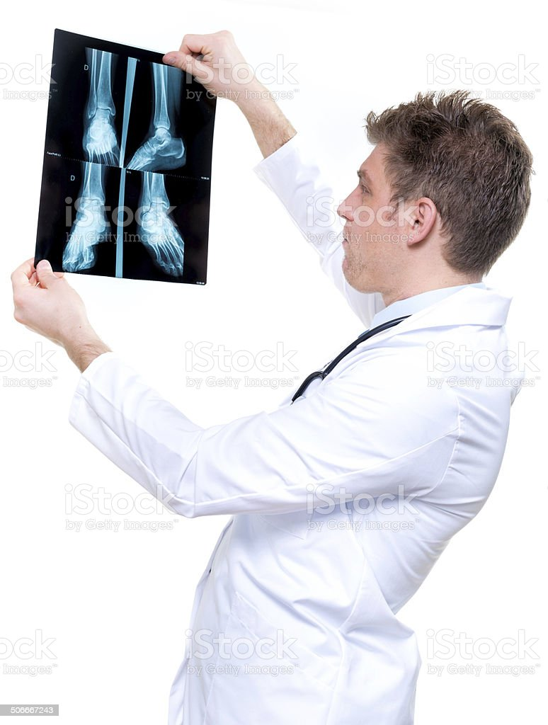 attractive and expressive doctor holding x-ray stock photo
