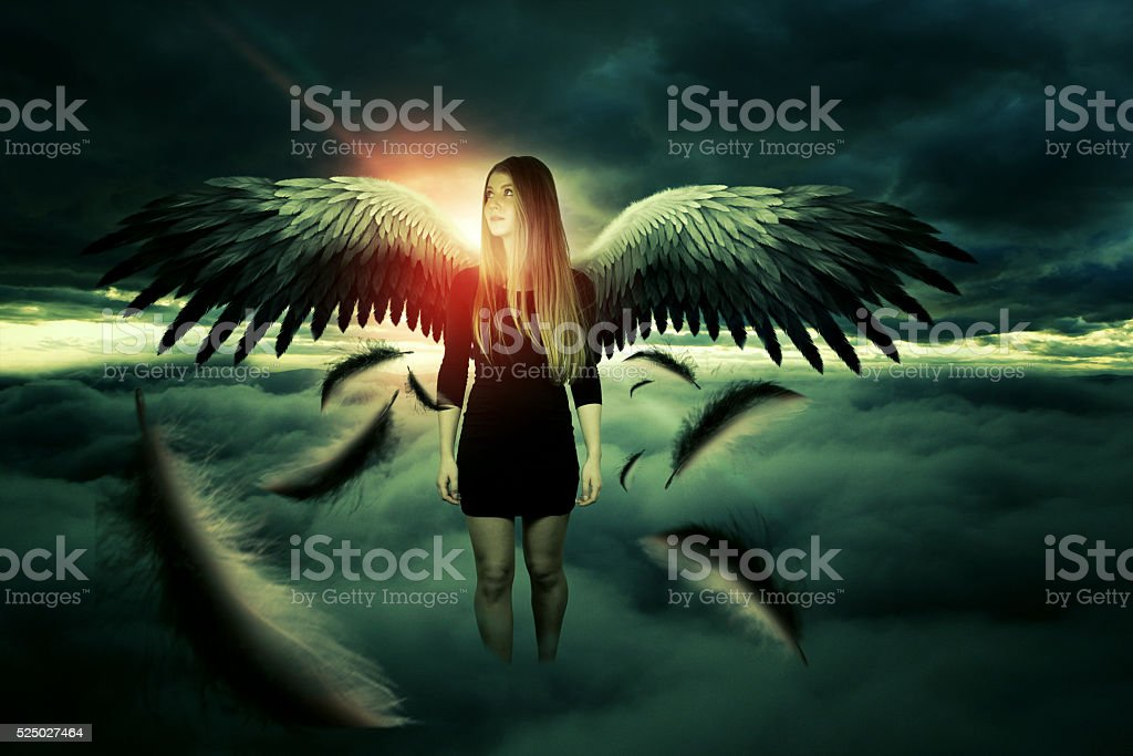 attractive angel of the death stock photo
