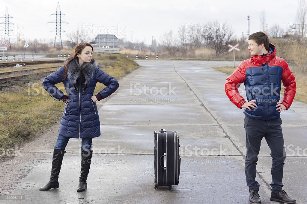 Attractive angry young couple stock photo