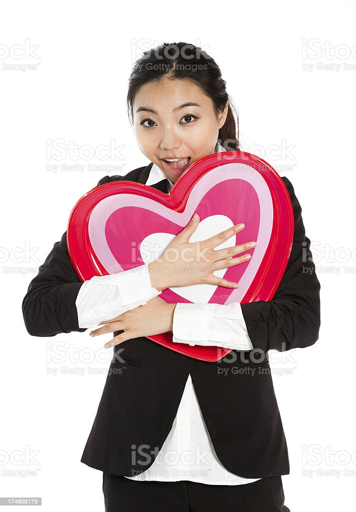 Attractive asian business girl ready for st valentine's day royalty-free stock photo