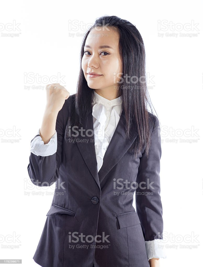 Attractive Asian business woman isolated on white background royalty-free stock photo