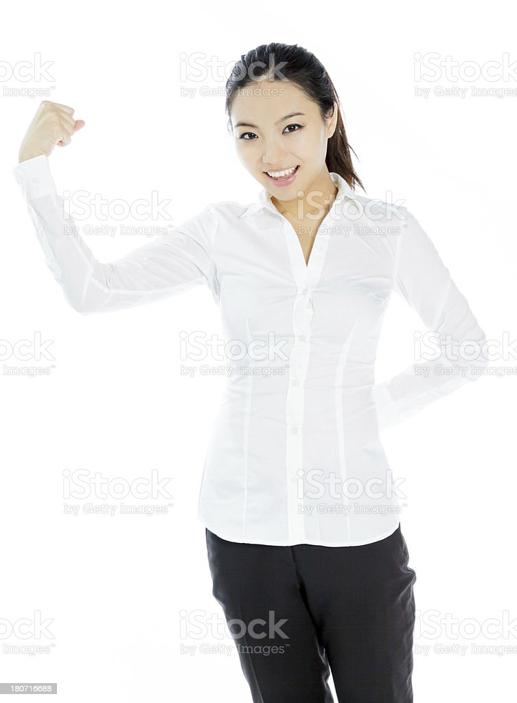 Attractive Asian business woman isolated on white background stock photo