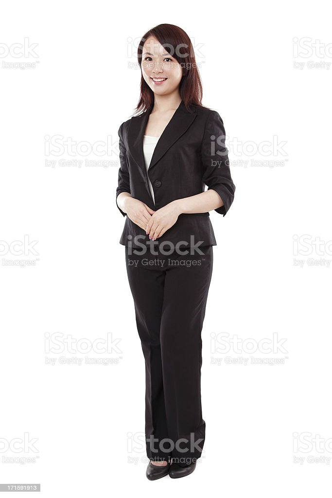 Attractive Asian Businesswoman in Suit on White Background stock photo