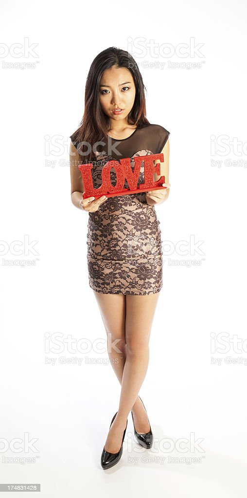 Attractive Asian Girl isolated on a white background royalty-free stock photo