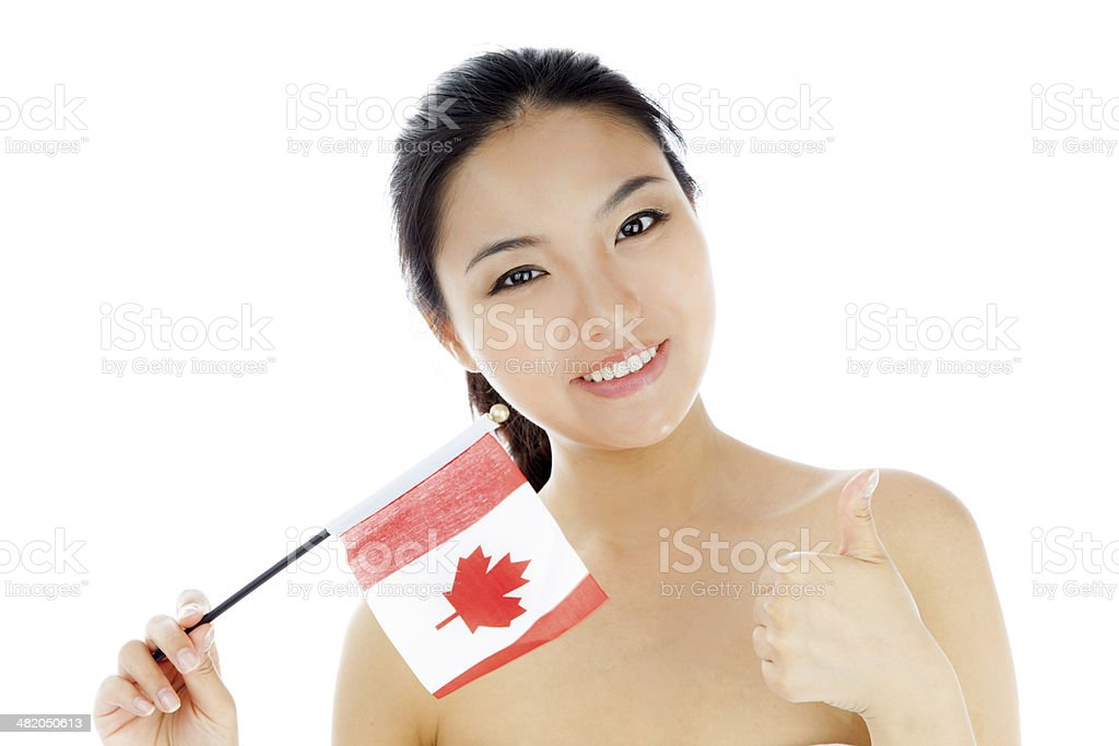 Attractive asian girl isolated white background royalty-free stock photo