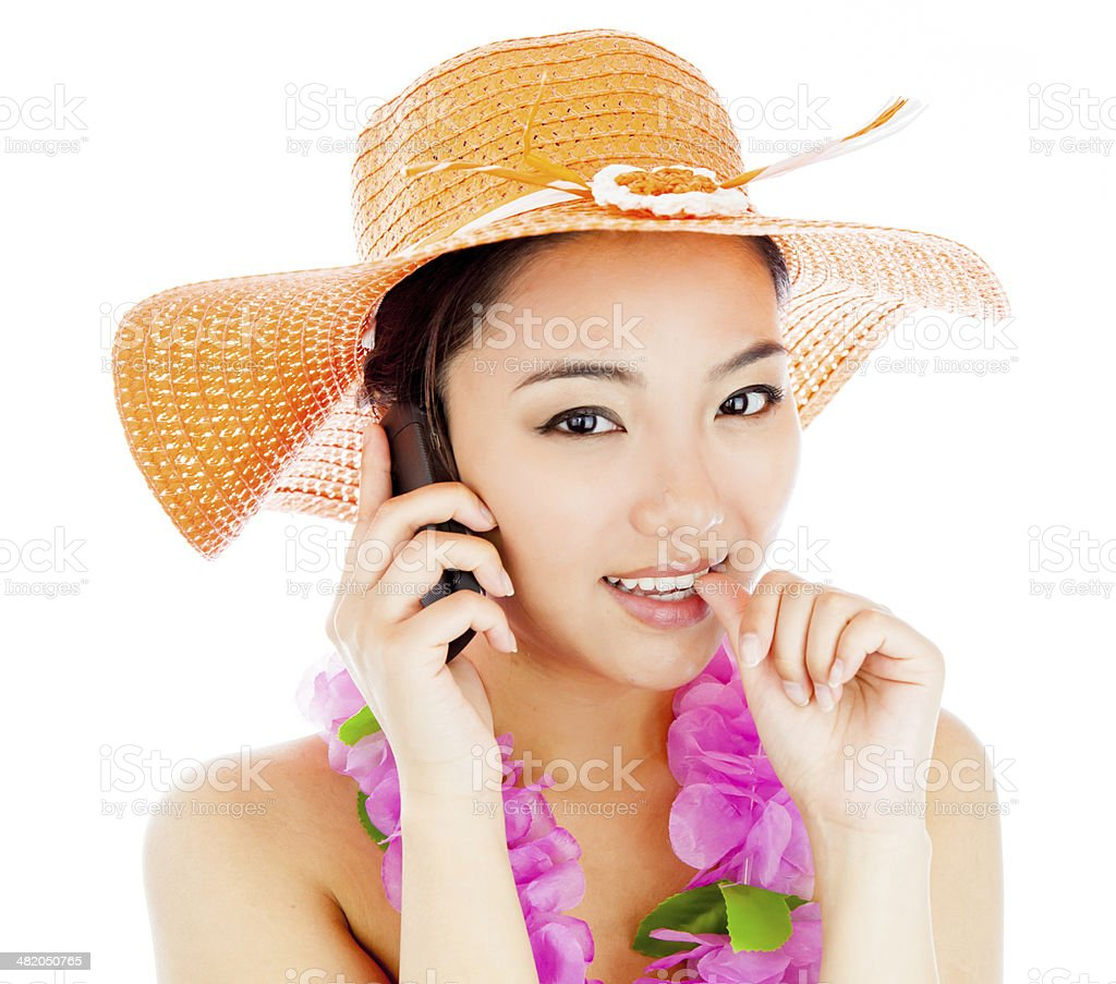 Attractive asian girl on vacations isolated white background royalty-free stock photo