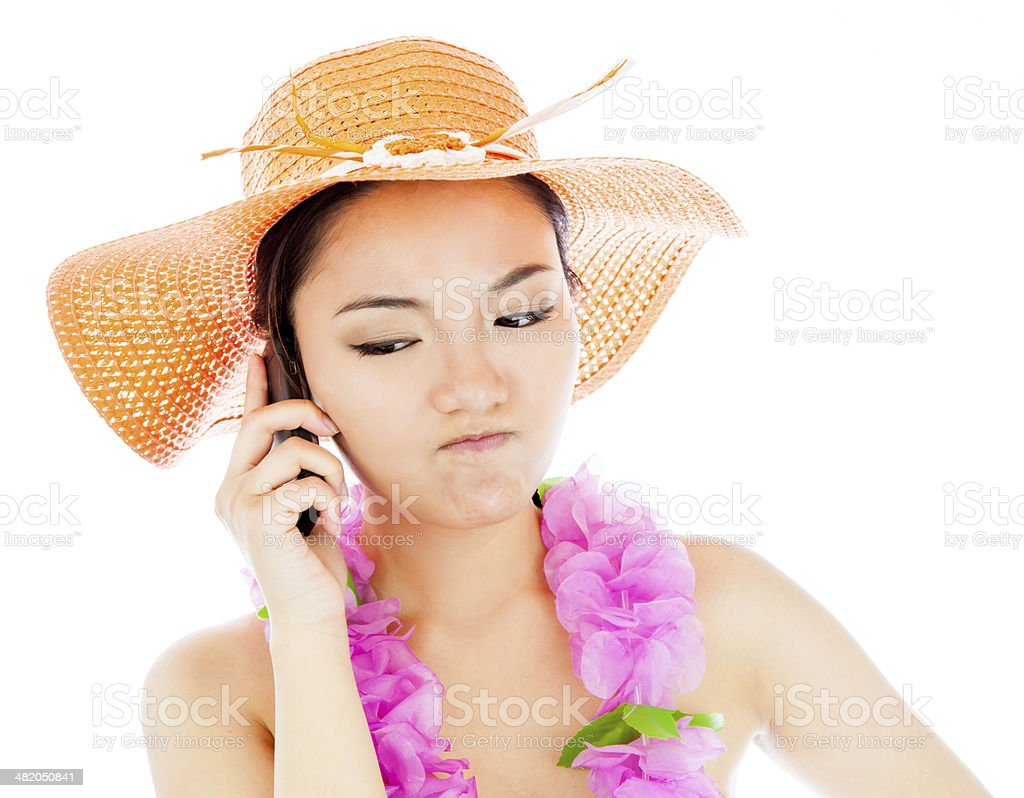 Attractive asian girl on vacations isolated white background stock photo