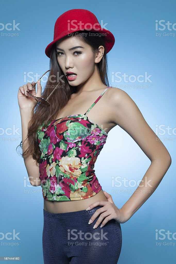 Attractive asian in trendy fashion wear stock photo