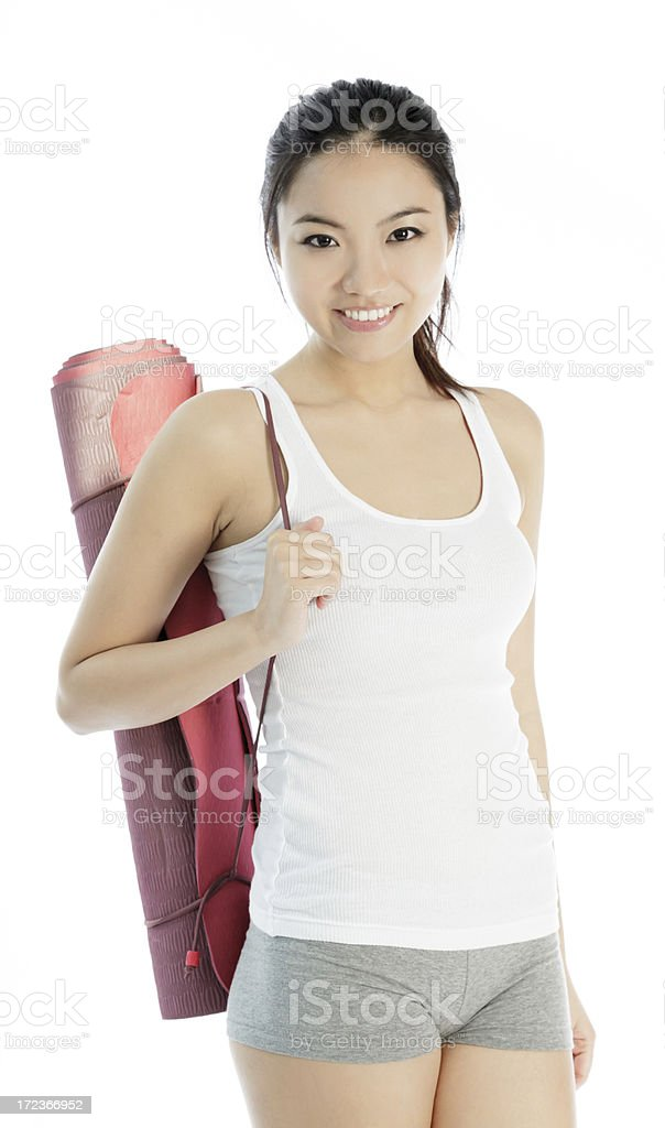 Attractive Asian sporty woman isolated on white background royalty-free stock photo