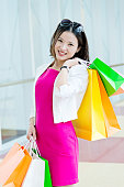 Attractive asian woman shopping