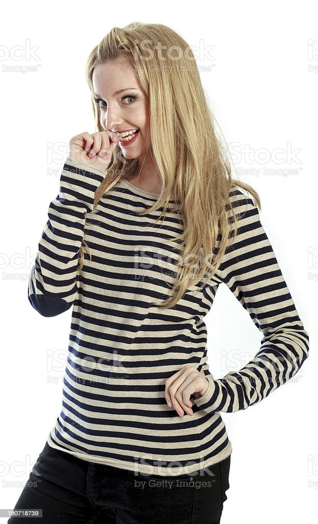 Attractive blond caucasian girl on white background royalty-free stock photo