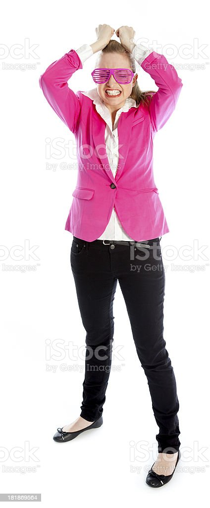 Attractive blond girl from 80s isolated on a white background royalty-free stock photo