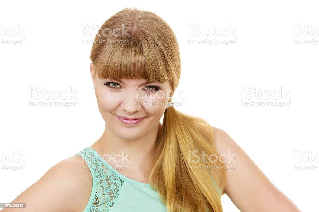 Attractive blonde girl smiling portrait stock photo