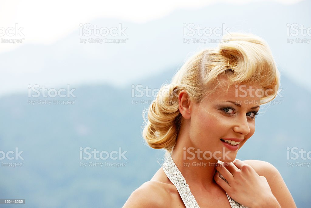Attractive blonde woman stock photo