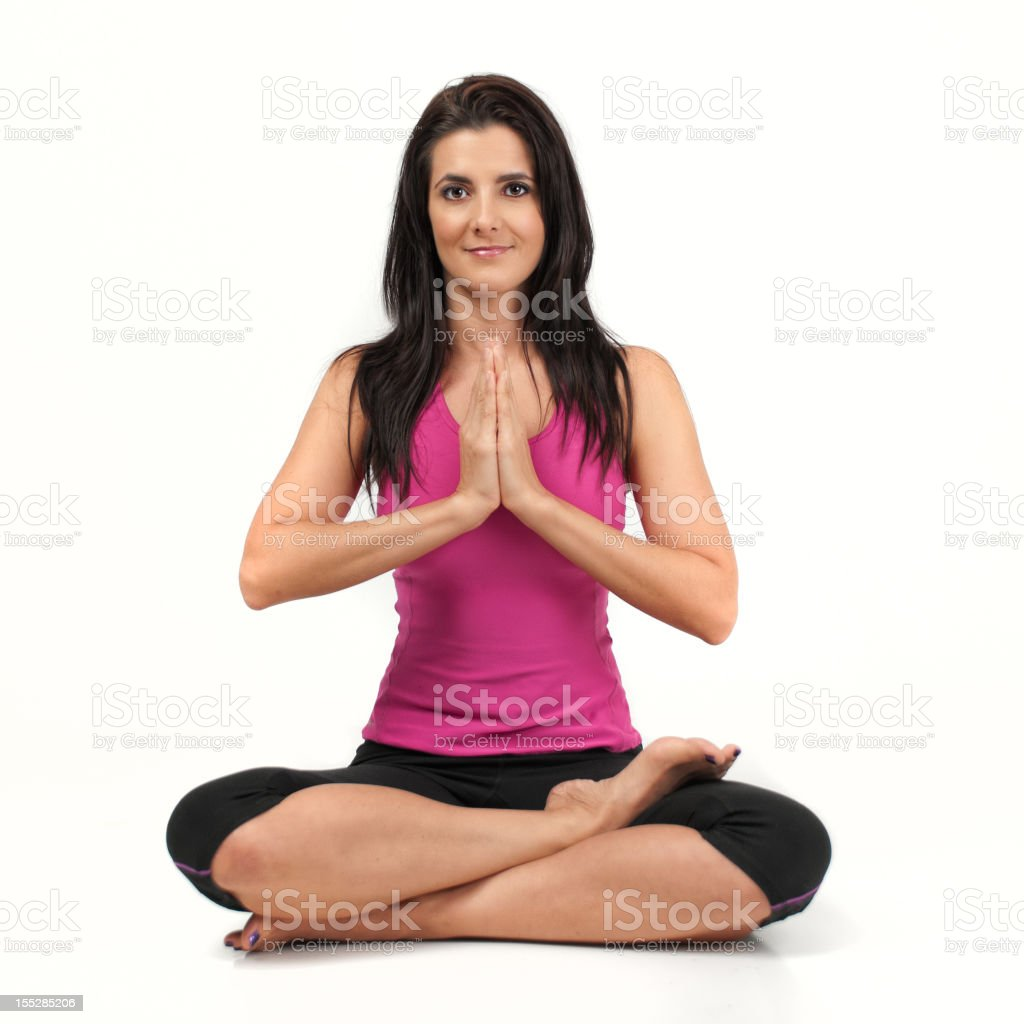 Attractive Brunette in Yoga Pose royalty-free stock photo