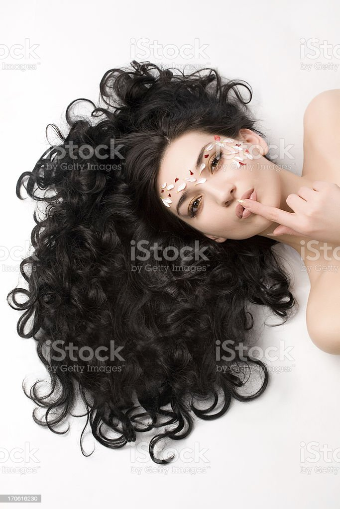 Attractive brunette with lovely smile stock photo