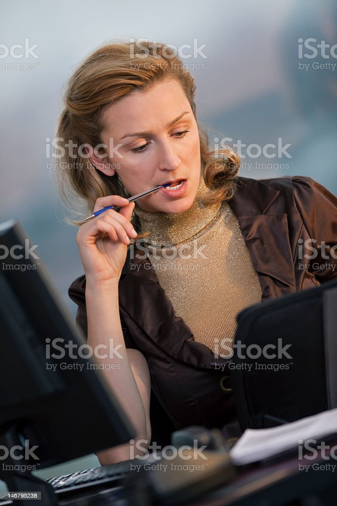 Attractive Business Woman Looking At Book royalty-free stock photo